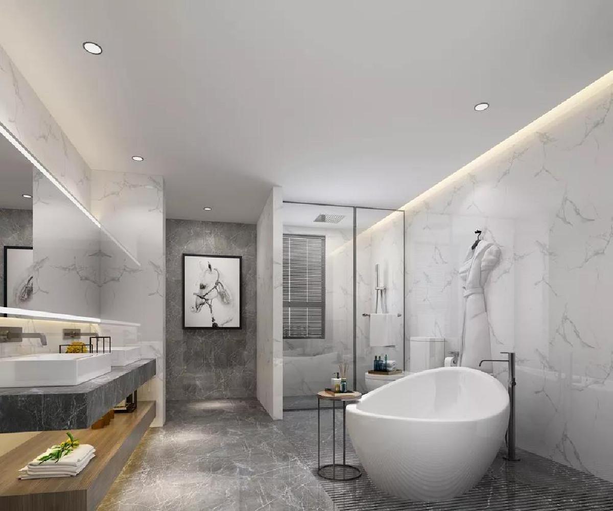 卫生间地面整体铺设灰色大理石瓷砖,墙面则铺贴白色花纹大理石,整个空间显得干净整洁。各个功能区分布合理,互不影响,提高了使用效率。