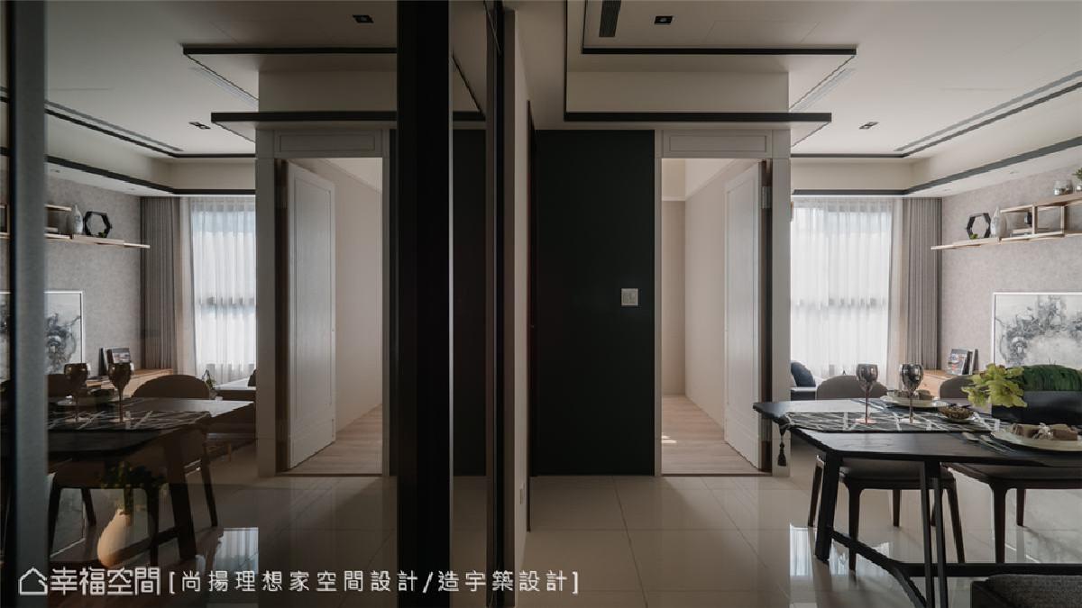 间接照明 具层次的天花染黑实木收边,层次落差间配置间接照明,创造视觉向上延伸感。
