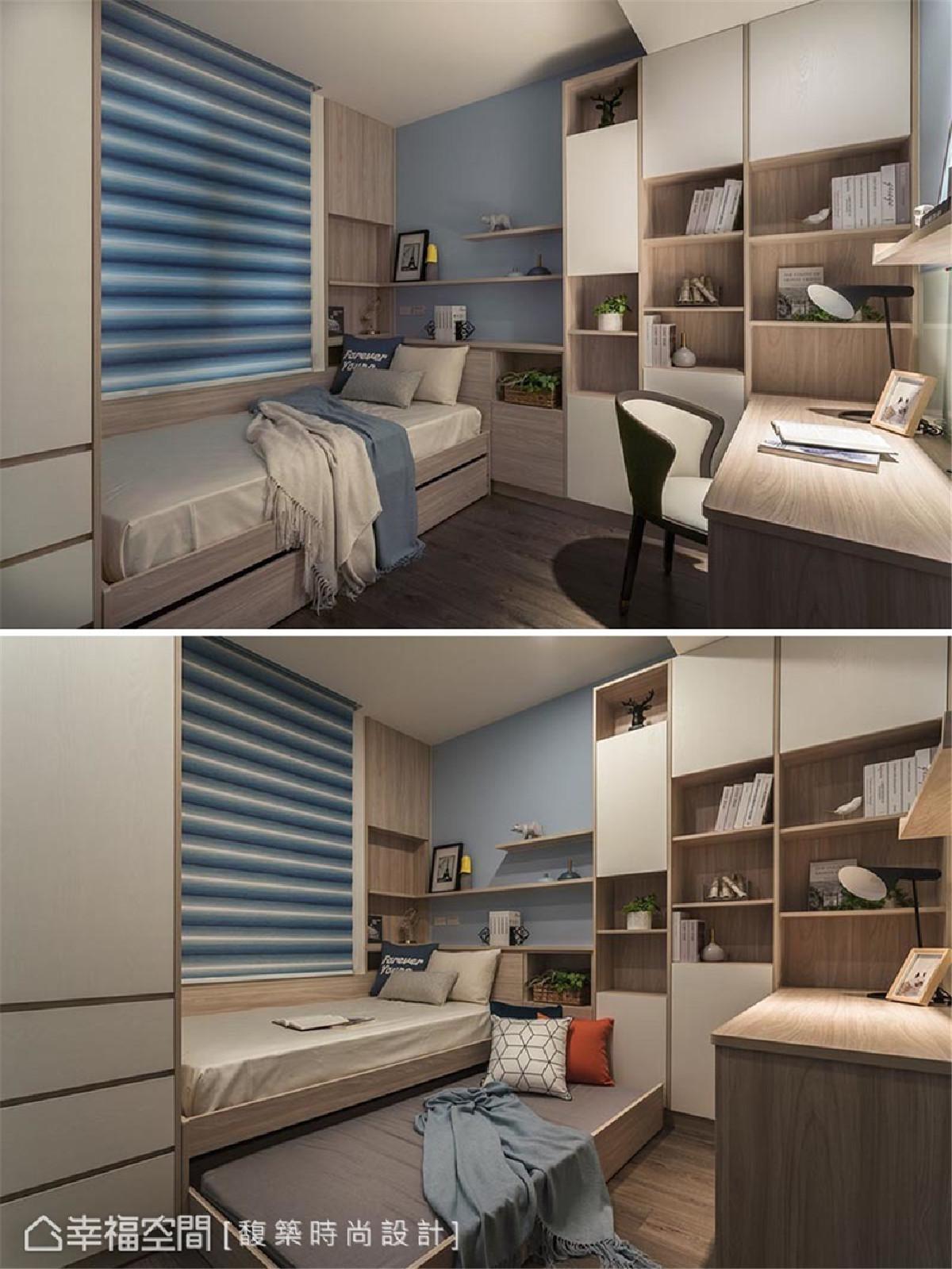 小孩房(一) 为打造符合青春期小孩的生活空间样貌,汤镇安设计师运用活泼展示层架搭配子母床设计,丰富空间的收纳与实用机能。