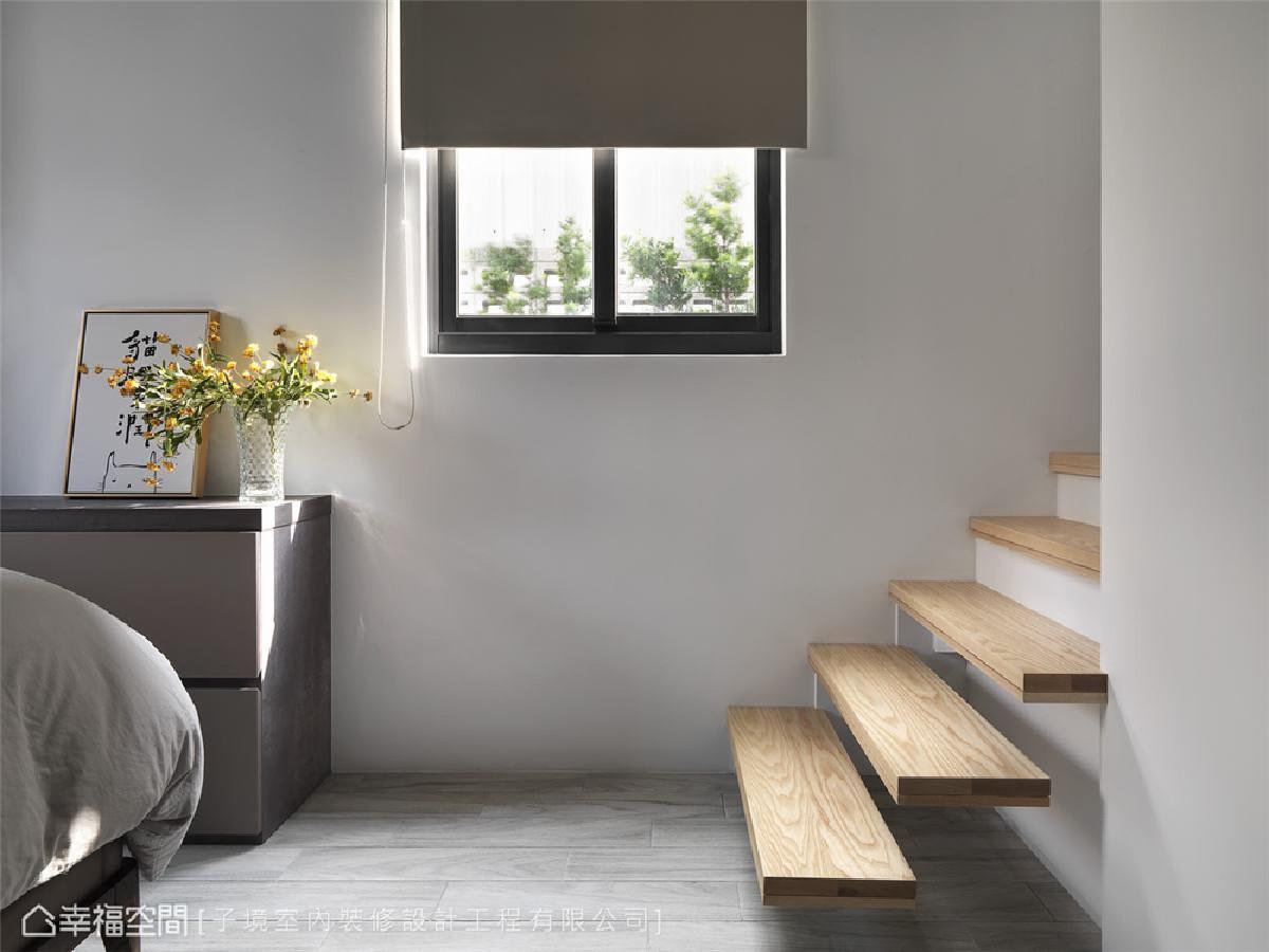 温润木质 卧房采用温和的木质元素作为地坪,优化使用者的踩踏体验,挹注和煦暖意。