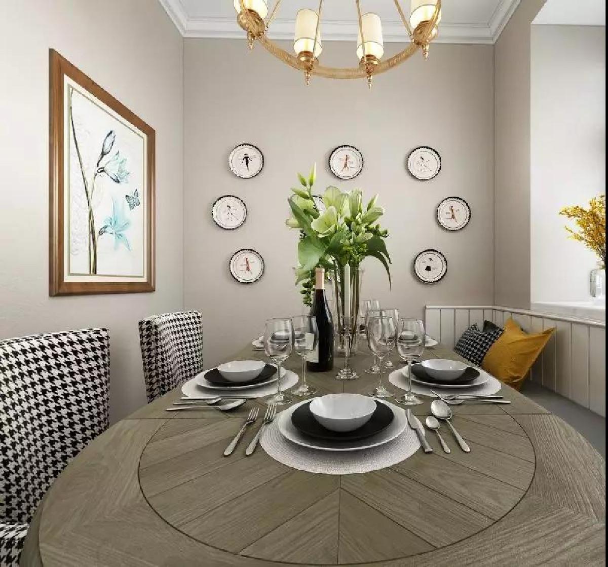 餐厅的主色调和客厅保持一致,原木餐桌一侧设计了卡座,节省空间也超实用,圆形墙面装饰新颖独特,营造了温馨的就餐氛围。
