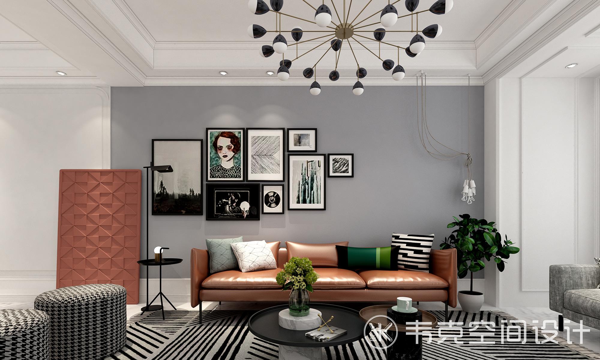 """客厅图片来自韦克空间设计在韦克丨放慢脚步,享受""""轻""""生活的分享"""