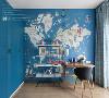 以健康的蓝绿色为主,设计了带有楼梯和滑梯的海盗船双层床,墙面背景是形象生动的地图画,整个空间氛围童真有趣,宽敞灵活的空间,小朋友还可以邀请他的小伙伴,一起共同玩耍,让空间成为陪伴及促进其成长的助力。