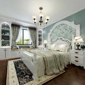 美式 三居 卧室图片来自知贤整体家装在保利湖畔阳光的分享