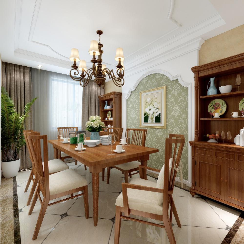 美式 三居 餐厅图片来自知贤整体家装在保利湖畔阳光的分享