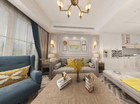 简约 美式 复式 客厅图片来自知贤整体家装在绿地天呈的分享