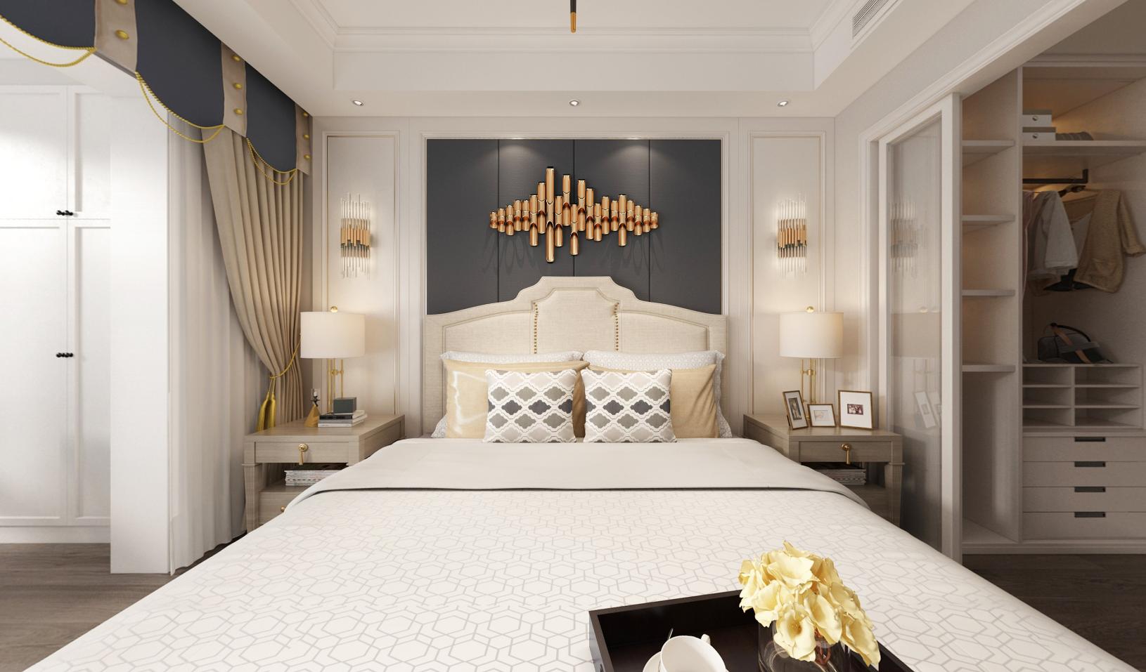 简约 美式 复式 卧室图片来自知贤整体家装在绿地天呈的分享