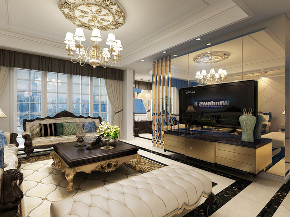 复式 欧式 客厅图片来自知贤整体家装在保利星海屿的分享