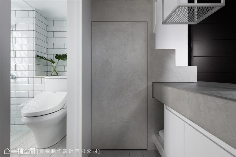 装修设计 装修完成 现代风格 卫生间图片来自幸福空间在43平,机能与美学兼具的温馨宅的分享