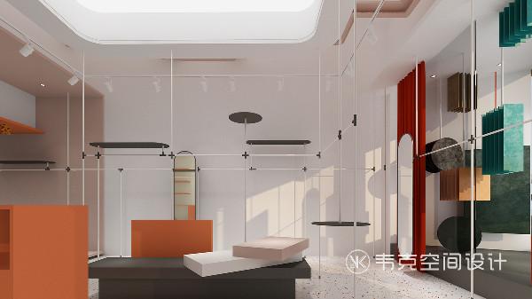 我们希望顾客走进空间后打破传统的单一展示方式,使用场景来增强互动,设计上我们淡化了收银台的使用形象,与休息区域组合搭配,形成一个流动空间。