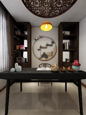 简约 白领 书房图片来自在情调新中式 90平里的中国风的分享