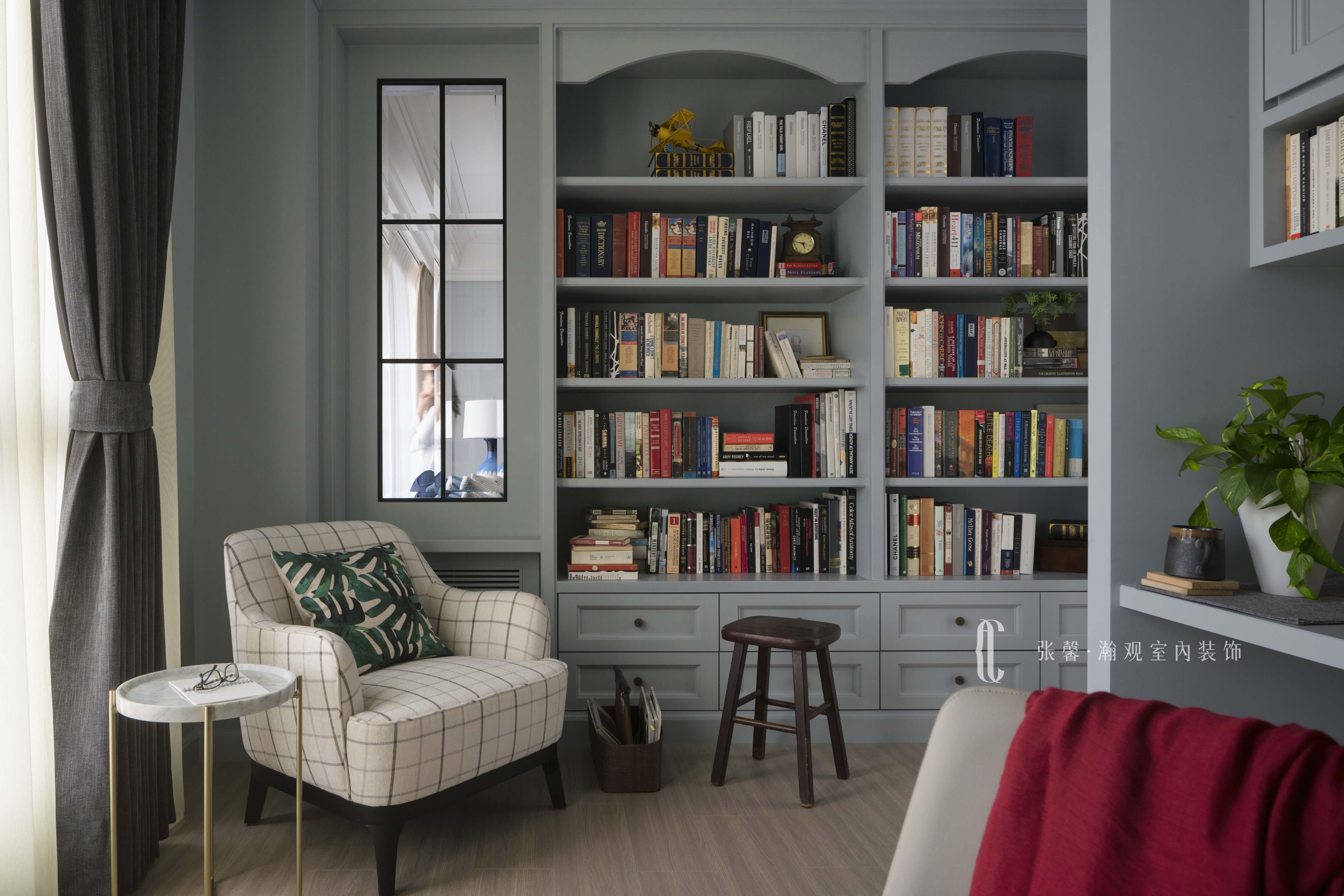 三居 张馨 美式 书房 书房图片来自张馨_瀚观室内装饰在翱翔 水畔森林的分享