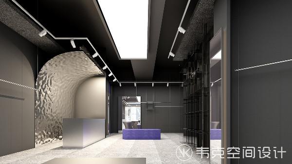 收银台的背景墙采用了铝板造型,经过技术处理,使板材表面呈现镜面效果,带来时尚靓丽的空间感,和其他墙面形成视觉反差,让整个空间更加出彩。