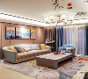 客厅选用素米色的极简丝质背景墙,茶几上雅士水波纹理石饰面来定义空间的清雅柔和,水墨蓝与灵动花卉地毯轻轻地挑起空间的韵律美感,空间附着着一层恰到好处、不过于浓郁的浪漫情调。