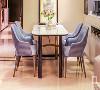蓝色千鸟格布艺餐椅,是空间色彩灵动一笔,主色调米灰色中跳出蓝色的韵律,让就餐环境乐趣横生。