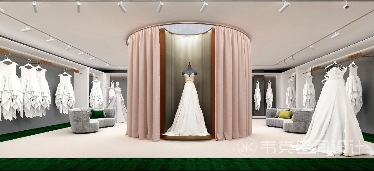 二楼空间的主要功能为婚纱展示区、VIP试衣间及仓库区域。