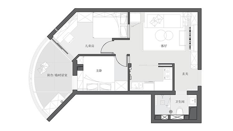 收纳 二居 旧房改造 久栖设计 北欧 简约 户型图图片来自久栖设计在合理规划空间,使生活条理清晰的分享