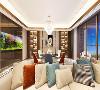 客餐厅为统一开放的空间,两者既分工明确,又能满足家人之间的互动,使整个空间充满优雅,温暖色彩。暖色灯带与咖色玻璃结合对的酒柜,把实用性和美观度最大限度融合。