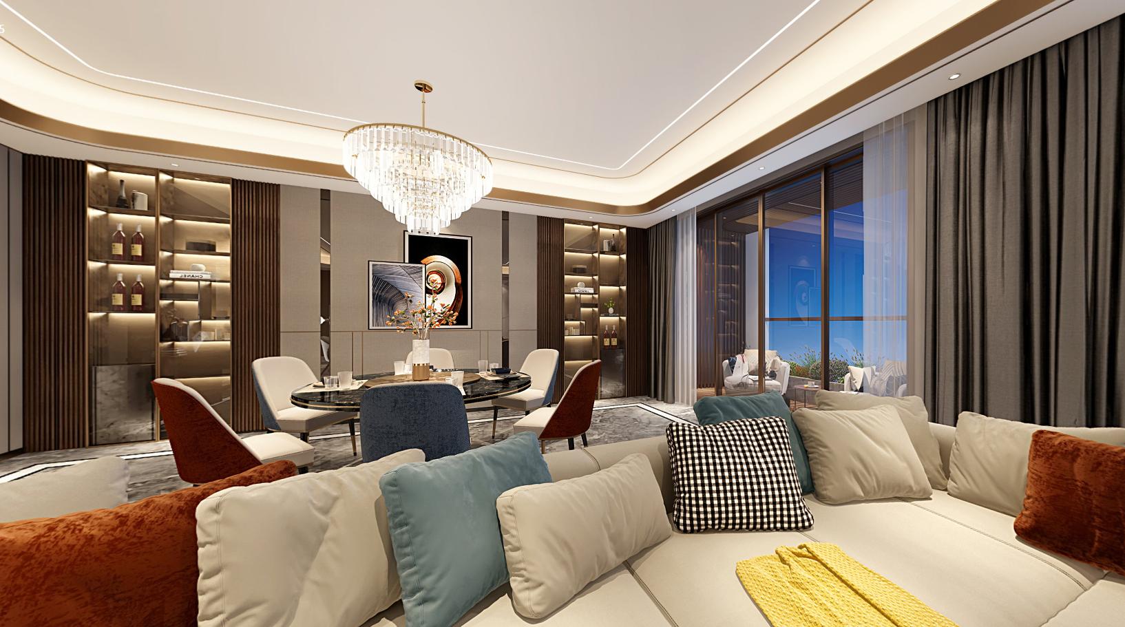 港式轻奢 朱平波 高端设计 成都装修 大平层 客厅图片来自朱平波在华润金悦湾-港式轻奢的分享