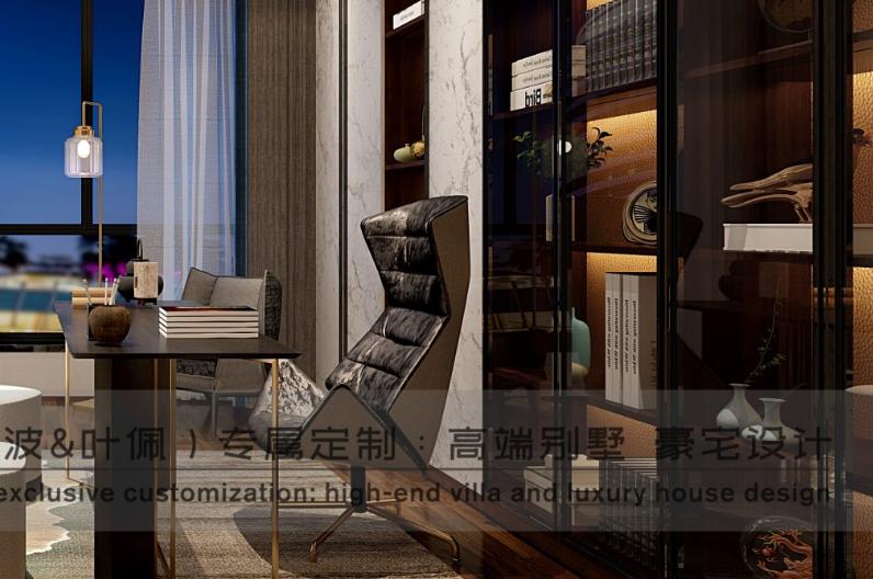 港式轻奢 朱平波 高端设计 成都装修 大平层 书房图片来自朱平波在华润金悦湾-港式轻奢的分享