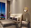 老人房特地放置明亮的床头吊灯,更方便老人使用。壁挂式电视让老人也有独立娱乐空间,超大落地窗让老人躺在床上就能看到更多风景,愉悦身心。