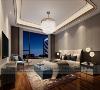 主人房硬包由浅米色与深咖色相结合,搭配金属感吊灯,与皮质床头相融相和,对空间环境的营造、细节的处理,直接透出空间的气质和神韵。